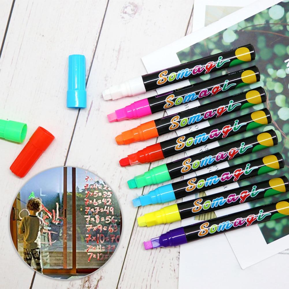 8 colores resaltador que se puede borrar fluorescente rotulador Flash Color pluma protección del medio ambiente tiza líquida libre de polvo