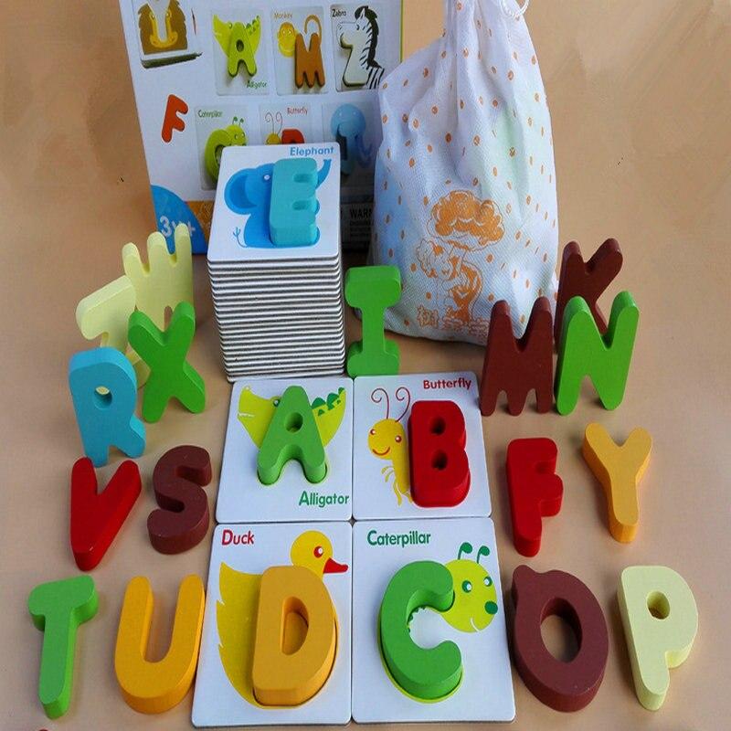 Juguetes rompecabezas de madera para niños, material didáctico montessori, juguetes educativos para niños, rompecabezas de letras de inteligencia, alfabeto cognitivo