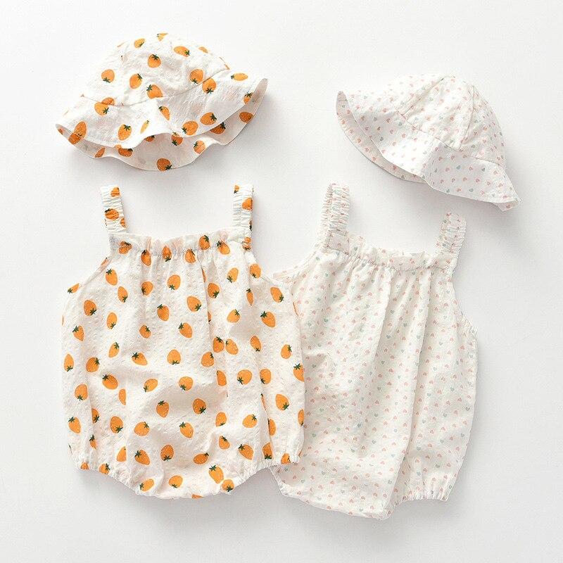 Children's wear 2021 new baby dress thin girl's one-piece skirt suspender skirt pure cotton strawber