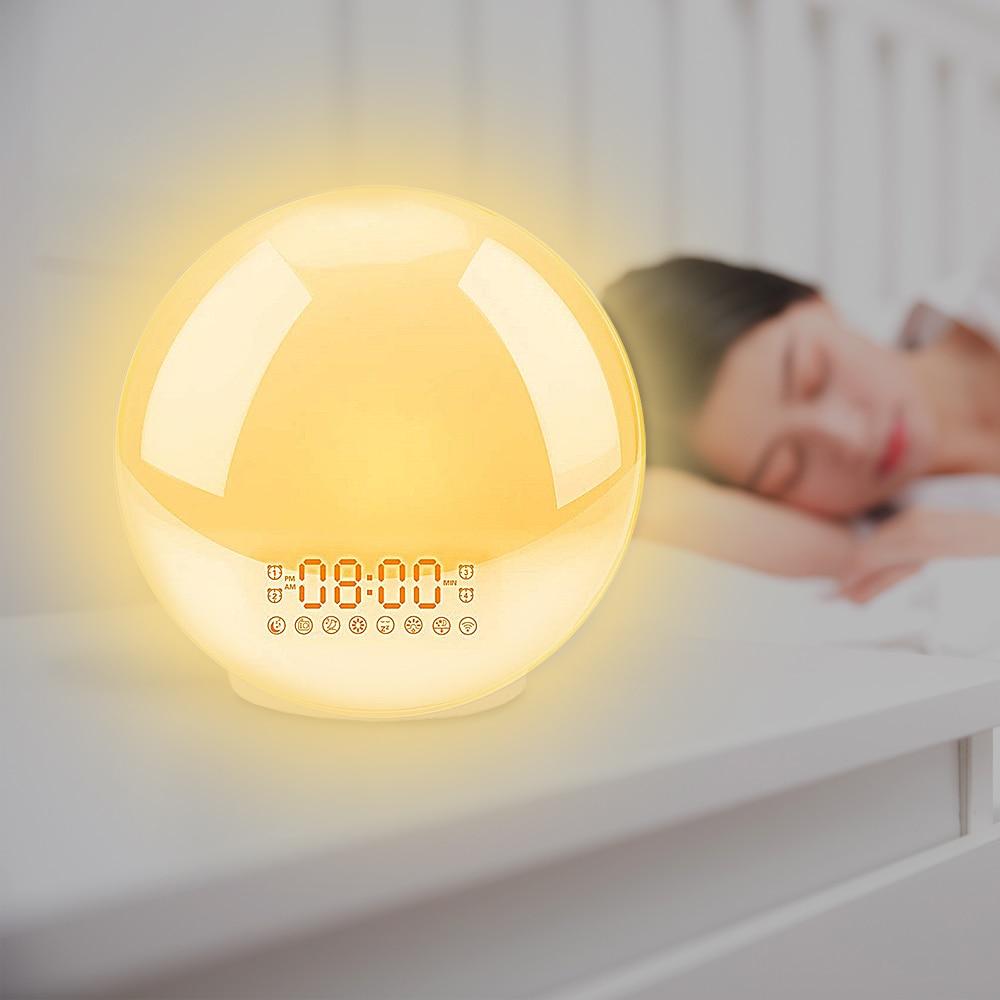 Despertador, luz de despertar digital snooze despertador noite lâmpada relógio nascer do sol luz colorida com rádios fm