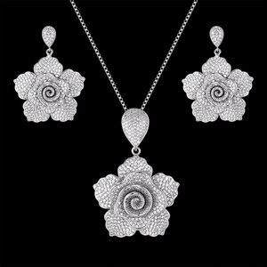 Zlxgirl jewelry AAA cubic zirconia wedding necklace with earring jewelry sets fine women bridal bijoux couple accessory sets