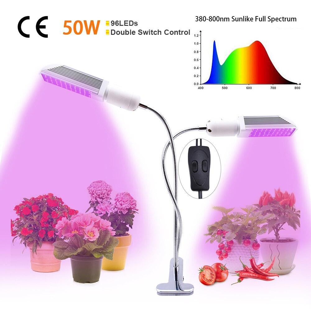 LED Grow Light 300 ° giratoria LED de espectro completo bombilla LED planta de crecimiento de plántulas de crecimiento cultivo LED interior luz de la planta