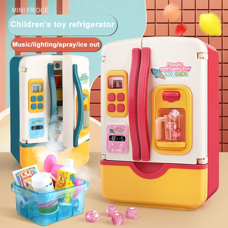 Children Double Door Role Play Fridge Toys Kitchen Simulation Refrigerator Pretend For Educational
