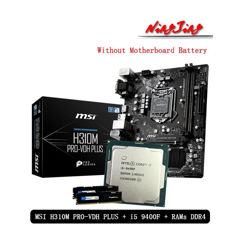 Intel Core i5 9400F CPU + MSI H310M PRO VDH PLUS Motherboard + Pumeitou DDR4 8G 16G 2666MHz RAMs Anzug LGA 1151 Ohne Kühler