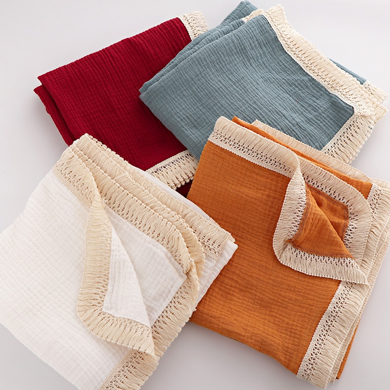 Baby gauze towels baby fringed blankets newborn quilts baby bath towels baby blankets fringed children's blankets parcel towels modern baby quilts