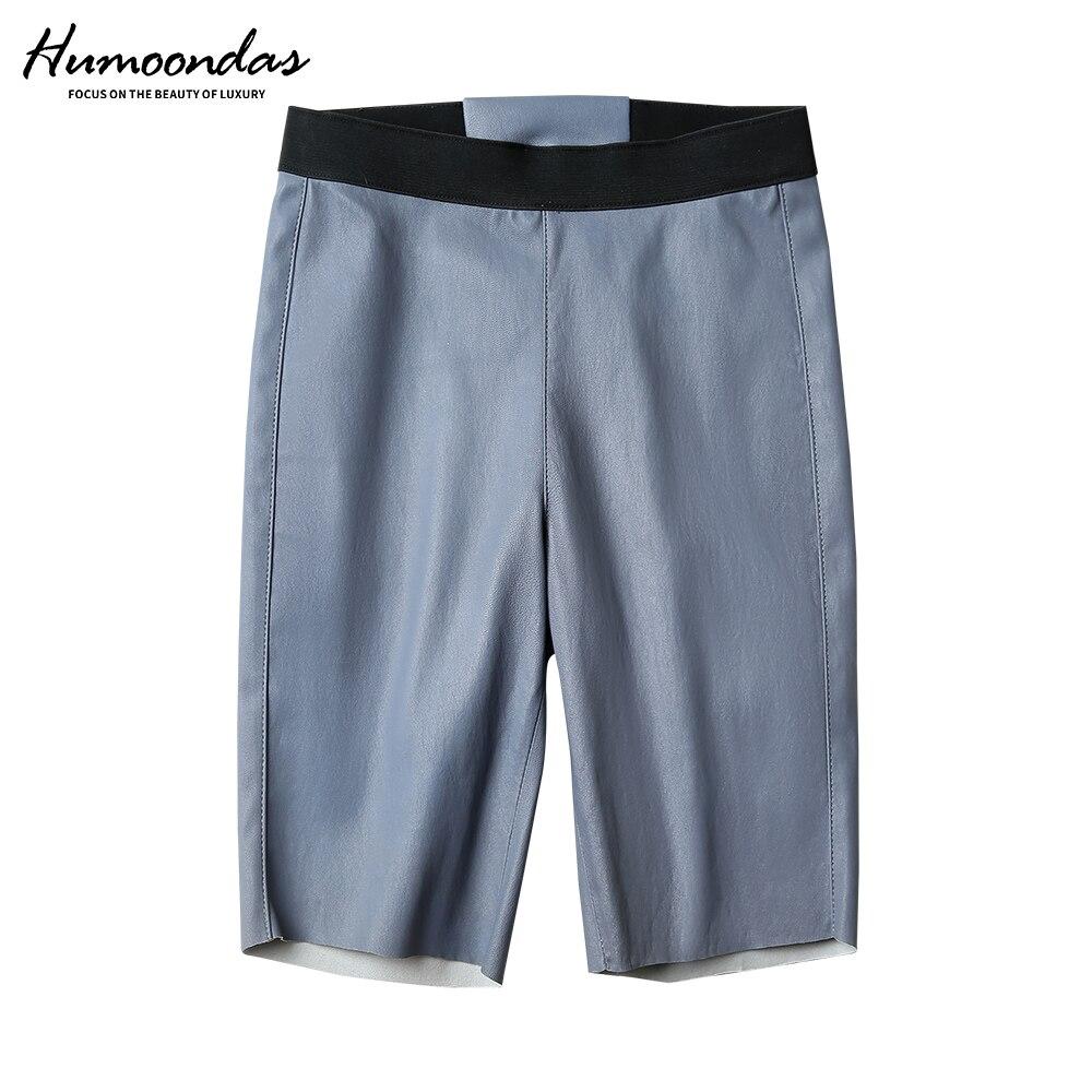 Pantalones cortos casuales de cintura alta para motociclista, pantalones cortos de verano para mujer, pantalones cortos de cuero genuino para Fitness, pantalones cortos sexis ajustados para mujer