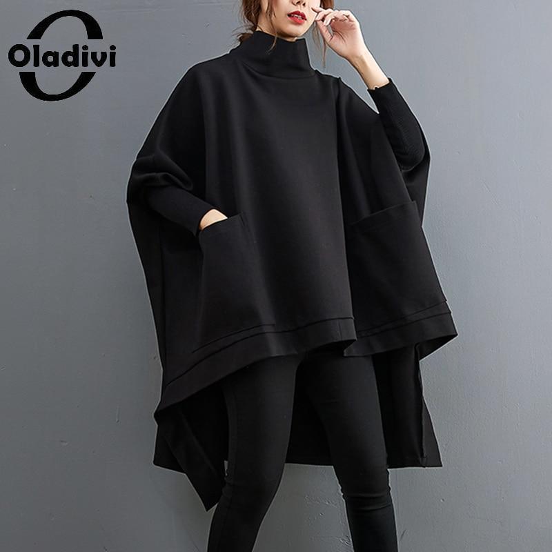 Oladivi المتضخم النساء كبيرة الحجم هوديس أسود 2021 الخريف الشتاء جديد بلوزات فضفاضة غير رسمية موضة السيدات ملابس خارجية 9529