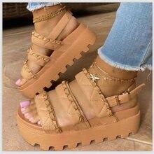 Women's Sandal Platform Platform Medium Heel Ladies Sandal Summer Soft-soled Comfortable Open Toed L