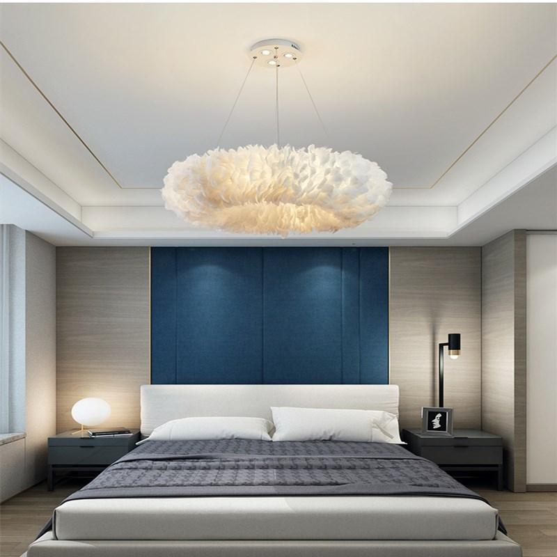 Artpad-مصابيح معلقة من ريش البجعة ، على الطراز الاسكندنافي ، مع تعليق ، طبيعي ، لغرفة النوم وغرفة المعيشة ، ديكور زفاف ، إضاءة رومانسية ، E27