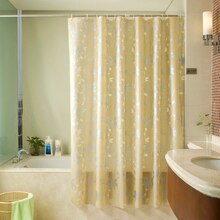 Shower Floral Bathroom Gold Champagne Waterproof PEVA Curtain Bathing Curtain with Hooks Bathroom Shower Curtain 3D Toilet Door
