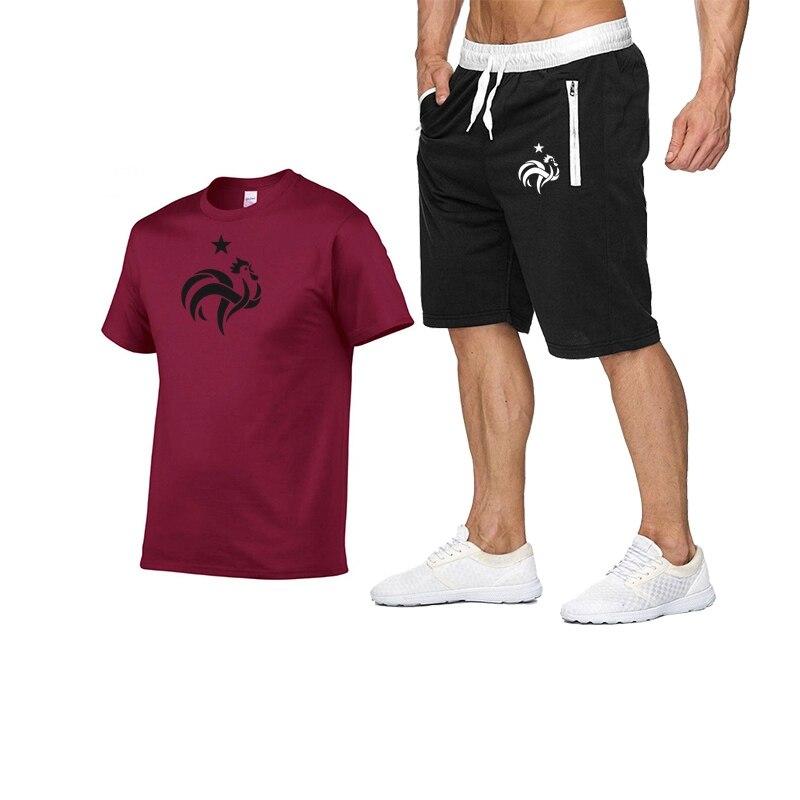 Костюм мужской летний из футболки и спортивных шорт с принтом