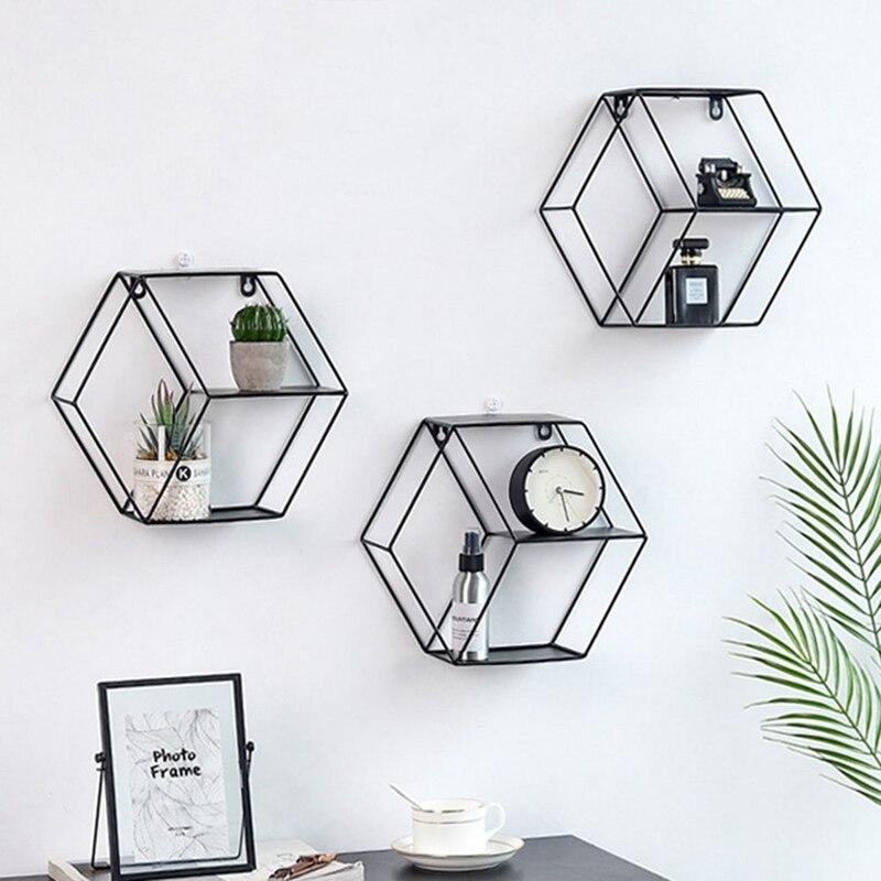 Estante de pared de estilo nórdico, soporte hexagonal de Metal para almacenamiento, estantes de adorno, decoración del hogar para macetas de artículos diversos