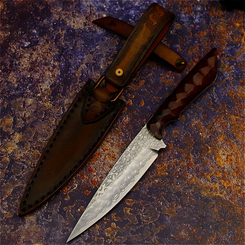 PEGASI יפני דמשק פלדה משולב סכין, ציד סכין חיצוני קרוב הגנה טקטי סכין + ידני עור מקרה