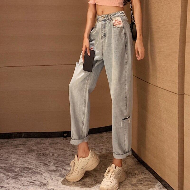 Jeans 2021 New Pants Women's Loose Straight High Waist Versatile Slimming Student Straight-Leg Pants