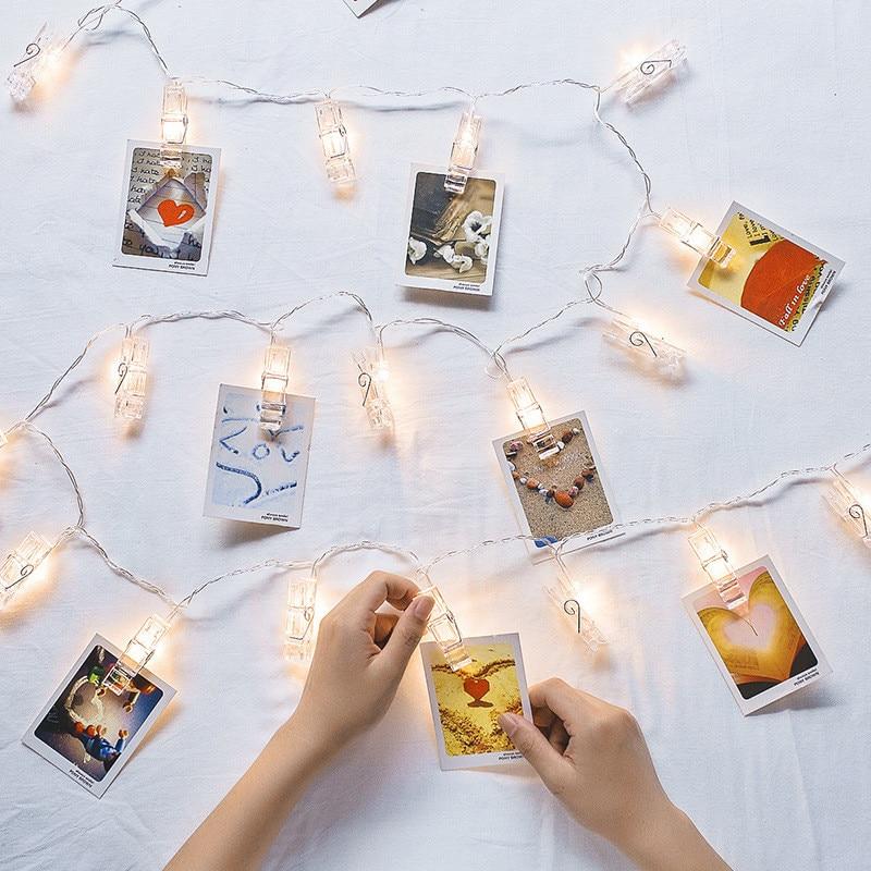 Светодиодная гирлянда с зажимом для фото, рождественское освещение, настенное украшение для фото, сказочные огни «сделай сам» на новый год, ...