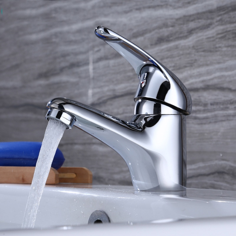 SIANCO Chrome Brass Sink Faucet Single Hole Mixer Tap Deck Mounted Wash Basin Faucet sianco single hole cold chrome rotatable brass kitchen faucet deck mounted besin sink faucet tap