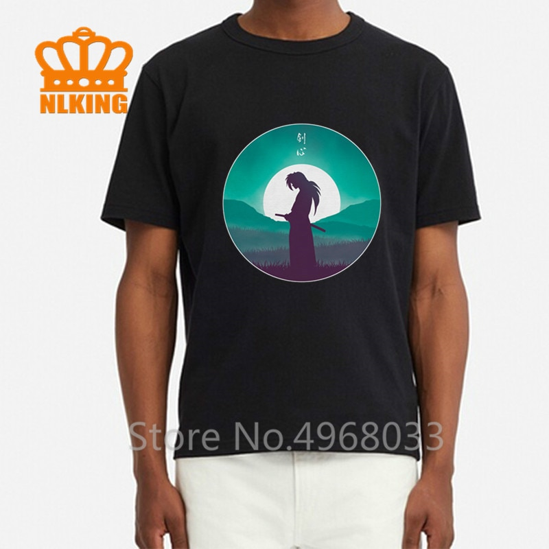 Anime japonés Rurouni Samurai para los fans de Kenshin, camiseta impresa para Hombre, Guerrero japonés Kendo, Camiseta de algodón para hombres, camiseta negra clásica