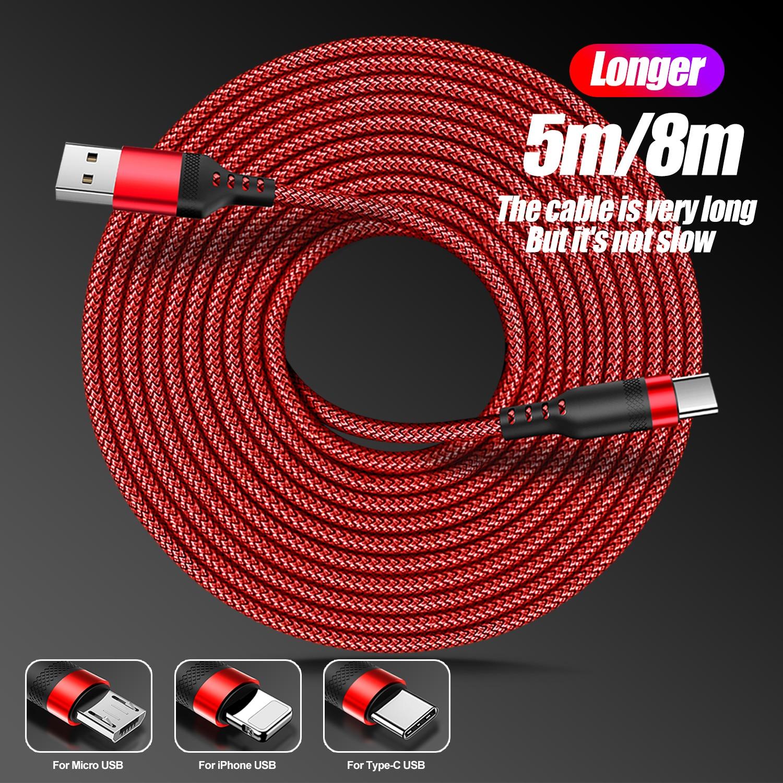 Cable de carga largo de 5m/8m, Cable de carga trenzado de nailon...