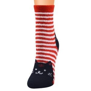 2020 New Happy Socks Women Christmas 2020 Coral Fleece Cat Print Thicker Anti-slip Floor Socks Carpet носки новогодние теплые