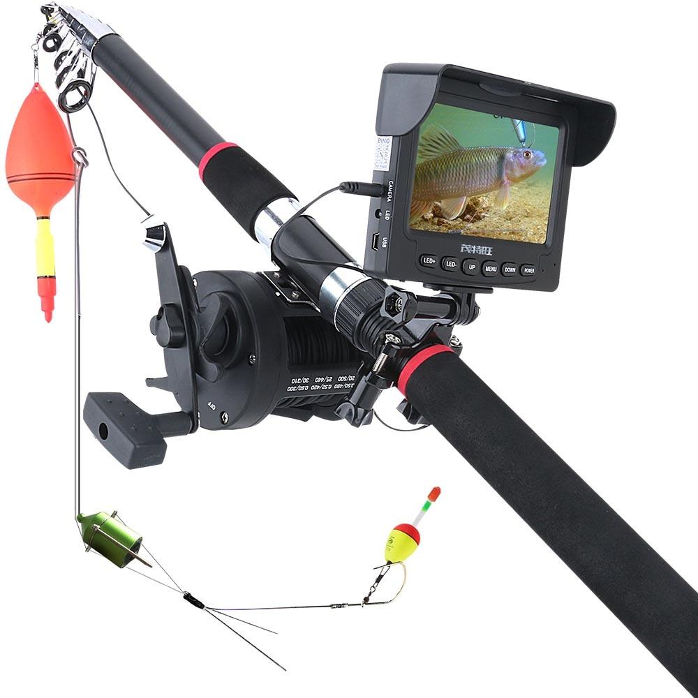 30M 1200TVL Fish Finder Underwater Fishing Camera 4.3 inch Monitor 10PCS LED Night Vision 195 Degrees Sea wheel Camera For Fishi