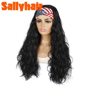 Sallyhair Wave Synthetic Hairband Afro American pattern hairband  Wavy Wigs High Temperature Natural Wave Wig Black Color