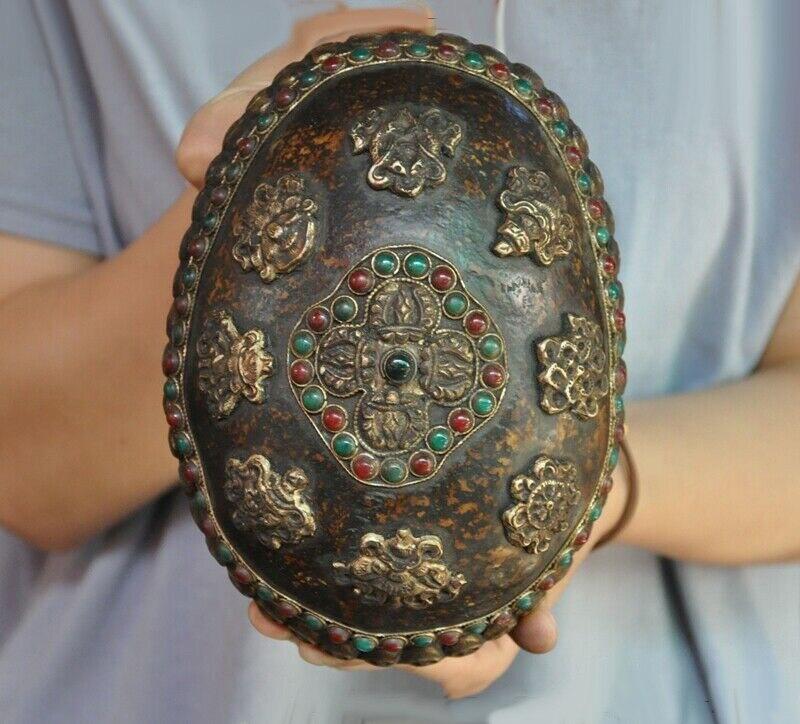 التبت البوذية الفضة الجمجمة رئيس البطانة جوهرة ثمانية الكنوز السلطانية كأس الجمجمة كابالا