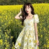 2021 summer korean elegant short sleeve mini dress women design casual vintage floral fairy dress female one piece dresses party