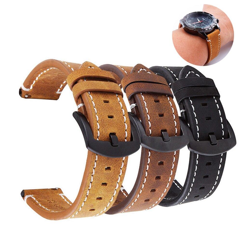 Correa de reloj de cuero genuino 18mm 20mm 22mm 24mm para Samsung Galaxy Watch 42mm 46mm Active2 Gear S2 S3 Correa marrón