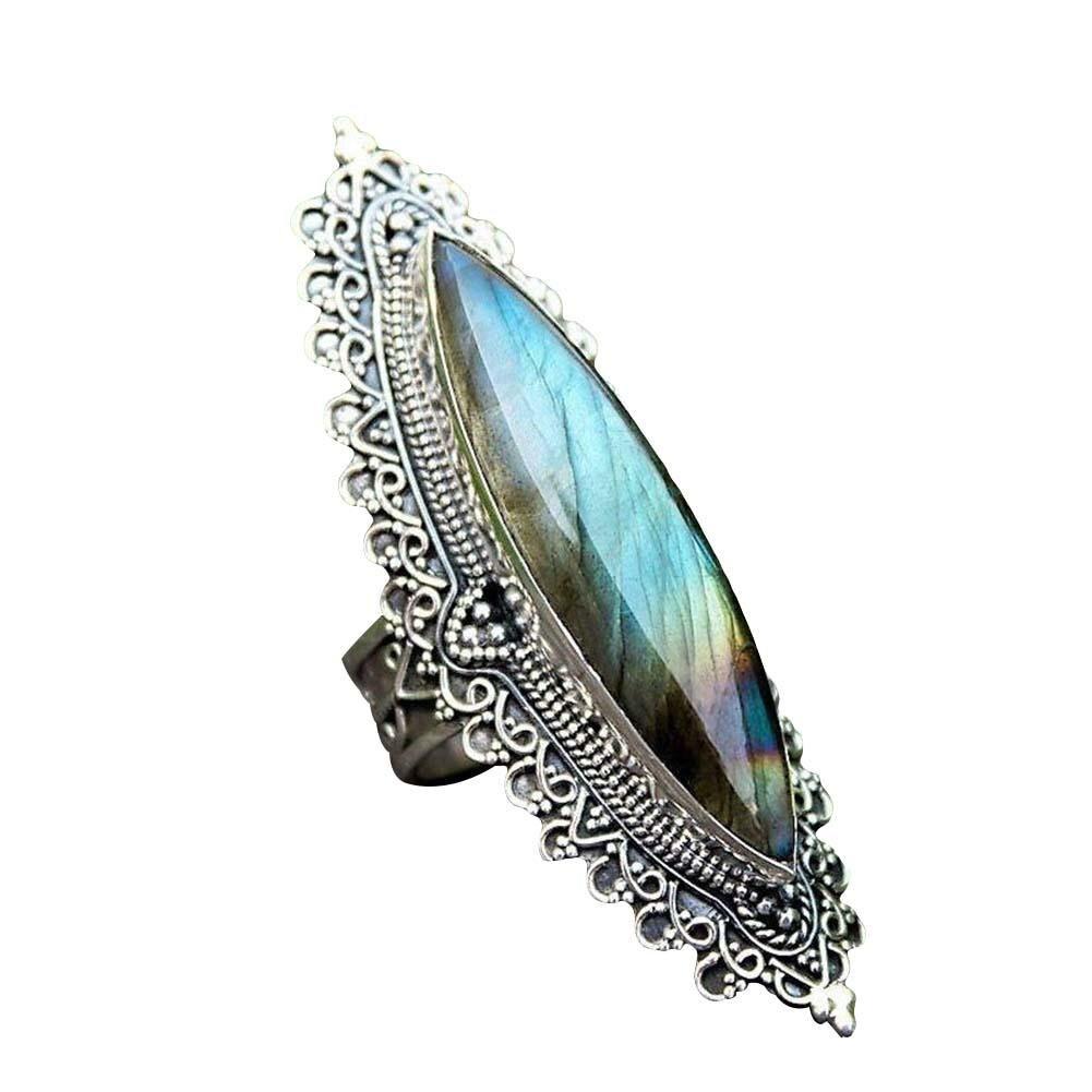 Anillo Retro Para mujer con corte de marquesa, labradorita de imitación incrustada, anillo de dedo tallado, regalo de joyería para mujer, accesorios, anillos para mujer, regalos