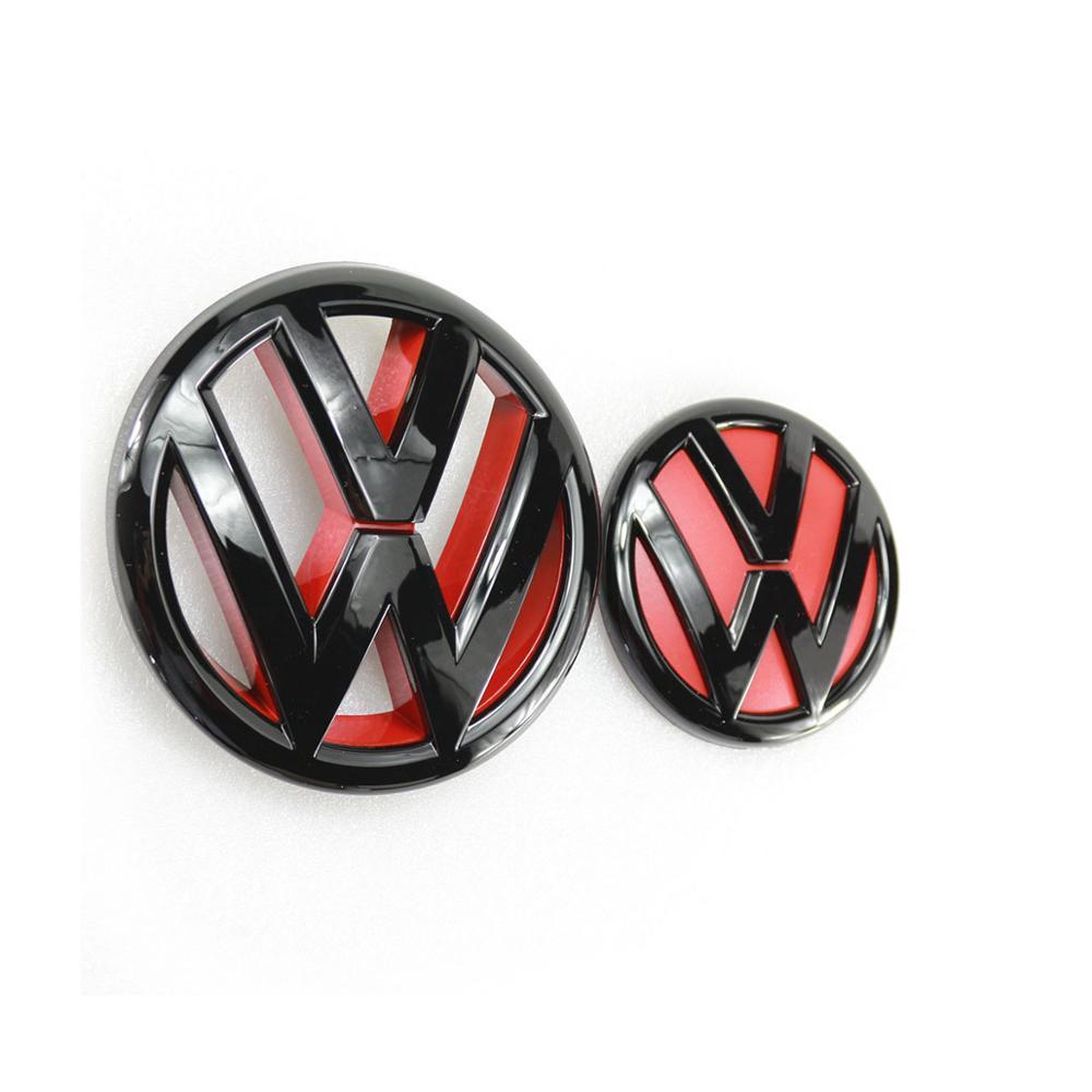 Gloss preto vermelho 130mm frente grill logotipo + 100mm tronco traseiro tampa emblema logotipo do carro para volkswagen jetta mk6 2011 2012 2013 2014