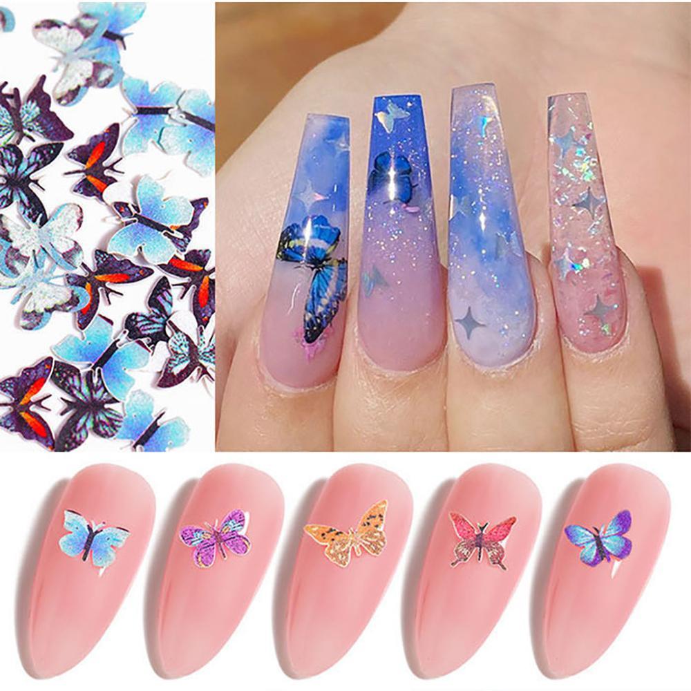 Decoración de uñas cristales lentejuelas brillo de uñas brillante 3D copos de...