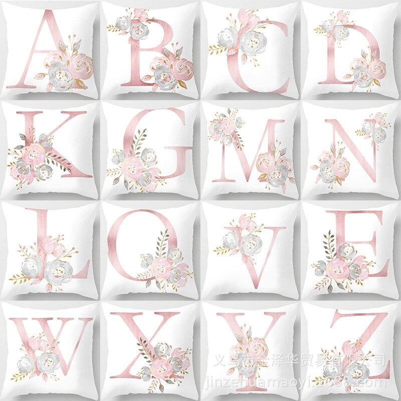 Наволочка для диванной подушки с розовыми буквами, наволочка для подушки в скандинавском стиле, плюшевая наволочка для подушки, домашние по...