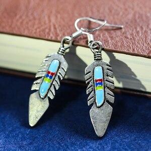 Винтажные серьги Этнические украшения в стиле Навахо красные синие металлические серьги-подвески с перьями и камнем для женщин серьги для ...