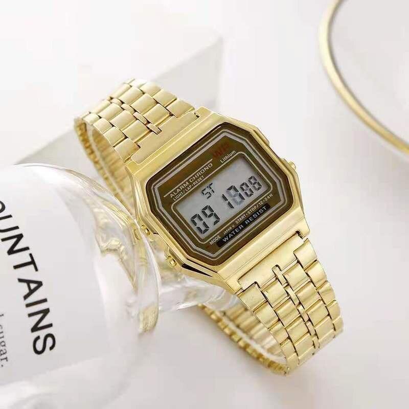 Роскошные Цифровые стальные светодиодные электронные светящиеся часы для мужчин и женщин мужские деловые Многофункциональные цифровые сп...