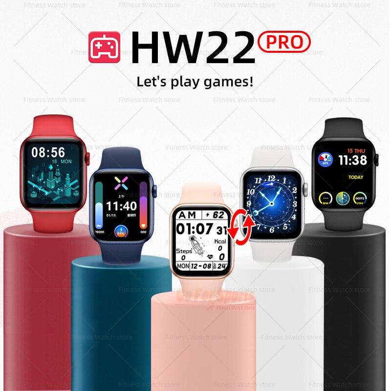 HW22 برو smartwatch 2021 IWO لعبة ساعة ذكية الرجال النساء الساعات سوار لياقة بدنية reloj pk HW12 X7 W26 T500 W26 W46 AK76 X16 T55