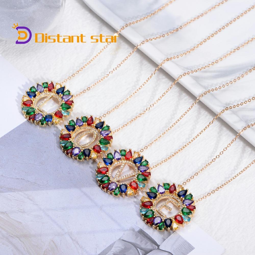 Модное новое Золотое цветное женское первоначальное ожерелье с буквами, подвеска на цепочке, Очаровательное ожерелье, ювелирное изделие дл...