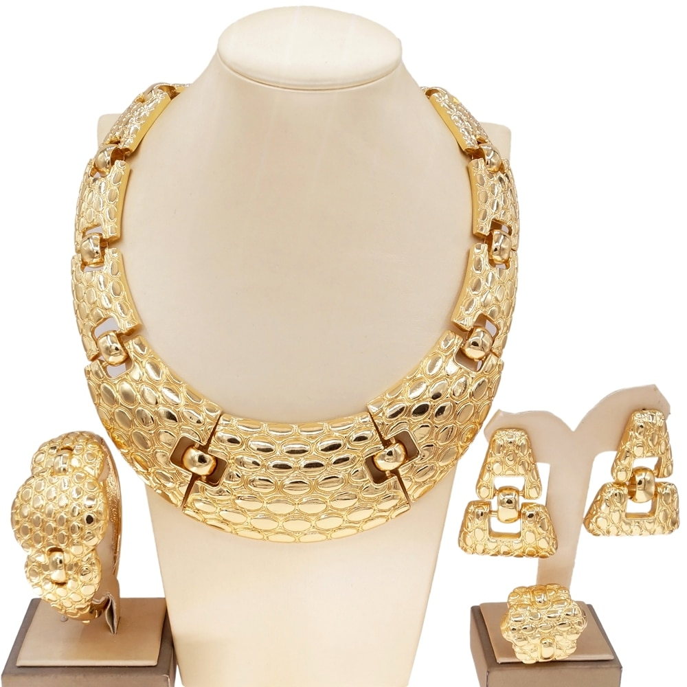 Yulaili الساخن بيع البرازيل الذهب الفاخرة النحاس طقم مجوهرات الزفاف الايطالية قلادة سوار القرط الدائري أربعة طقم مجوهرات s H0001