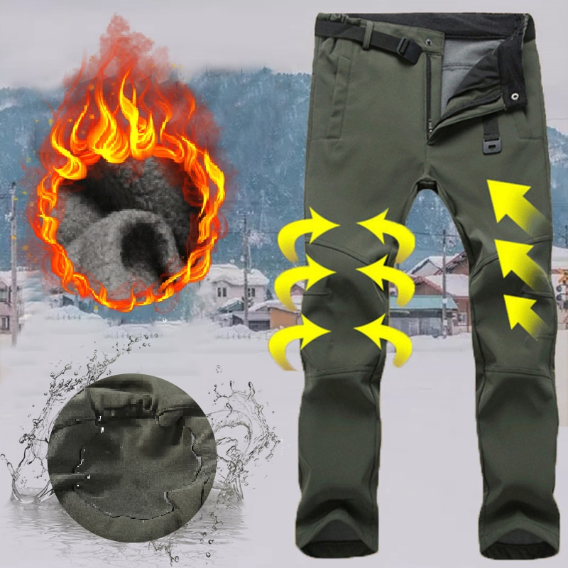 Winter Men Windproof Thick Stretch Ski Pants Male Outdoor Snow Camping Hiking Pants Fleece Warm Waterproof Breathable Trousers saguaro men women hiking pants 2018 waterproof soft shell camping trekking thermal fleece lining warm ski trousers pants