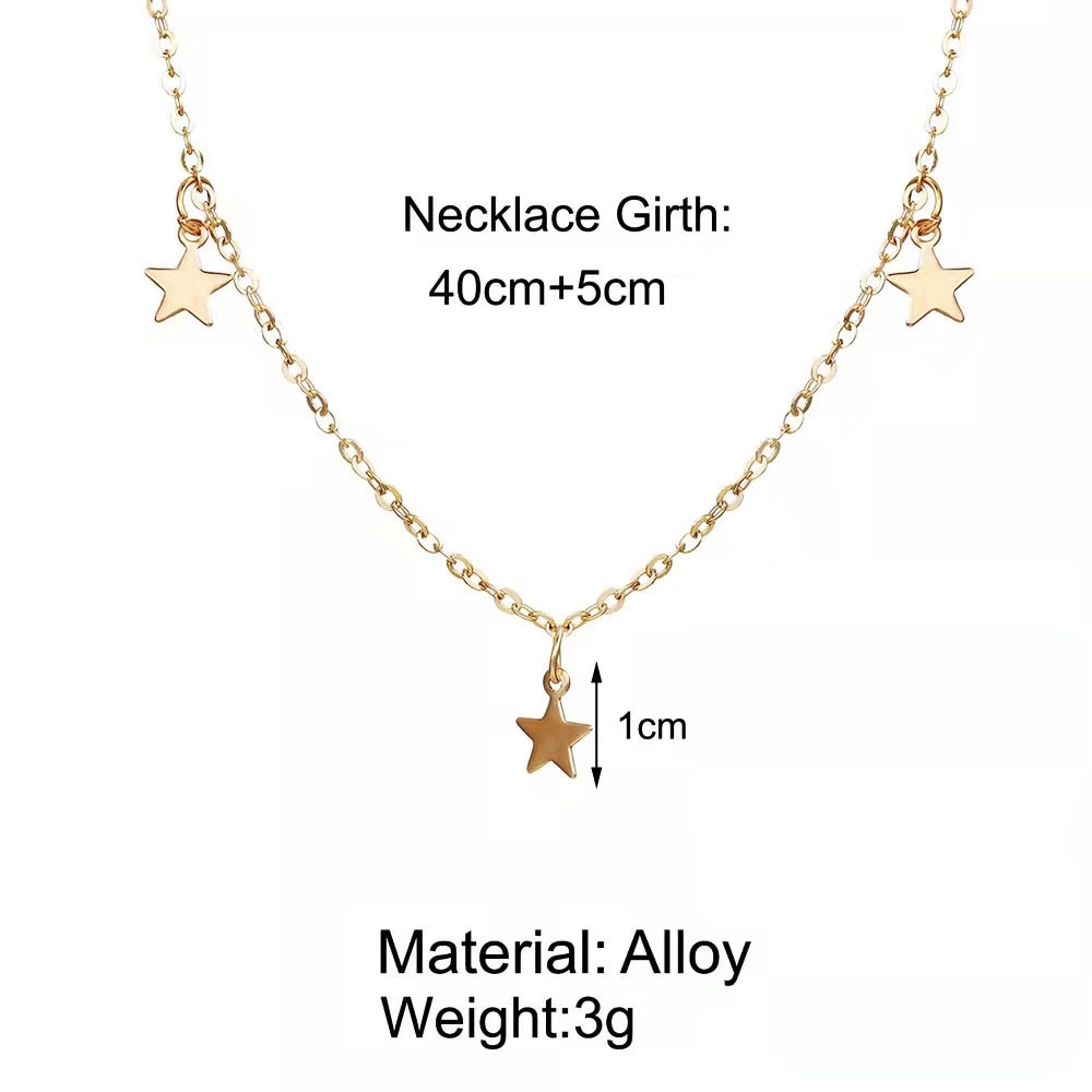 Fashion Personality Women's Necklace Creative Retro Simple Three Star Pendant Clavicle Chain 2021 Trend New Party Gift  - buy with discount