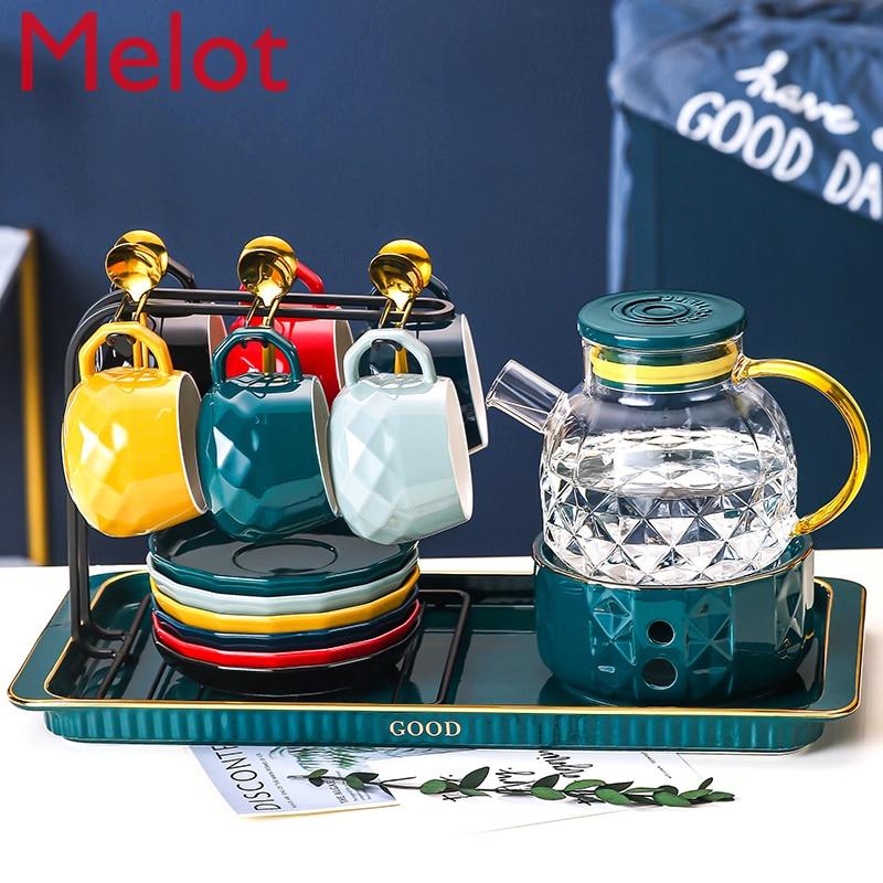 الشمال الشاي كوب الشاي مجموعة الأسرة غرفة المعيشة ضوء الفاخرة كوب ماء مع السيراميك كوب ماء مجموعة كوب مع علبة دائم الصين جودة