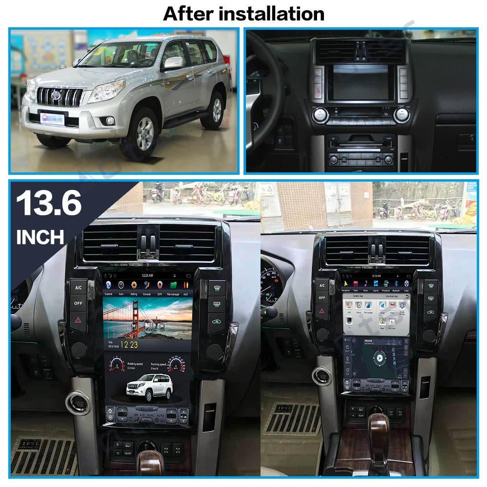 13.6 Inch Car DVD Player for Toyota Land Cruiser Prado 150 LC150 J150 2010-2018 Android 9.0 PX6 GPS Navigation 4G+64G Headunit
