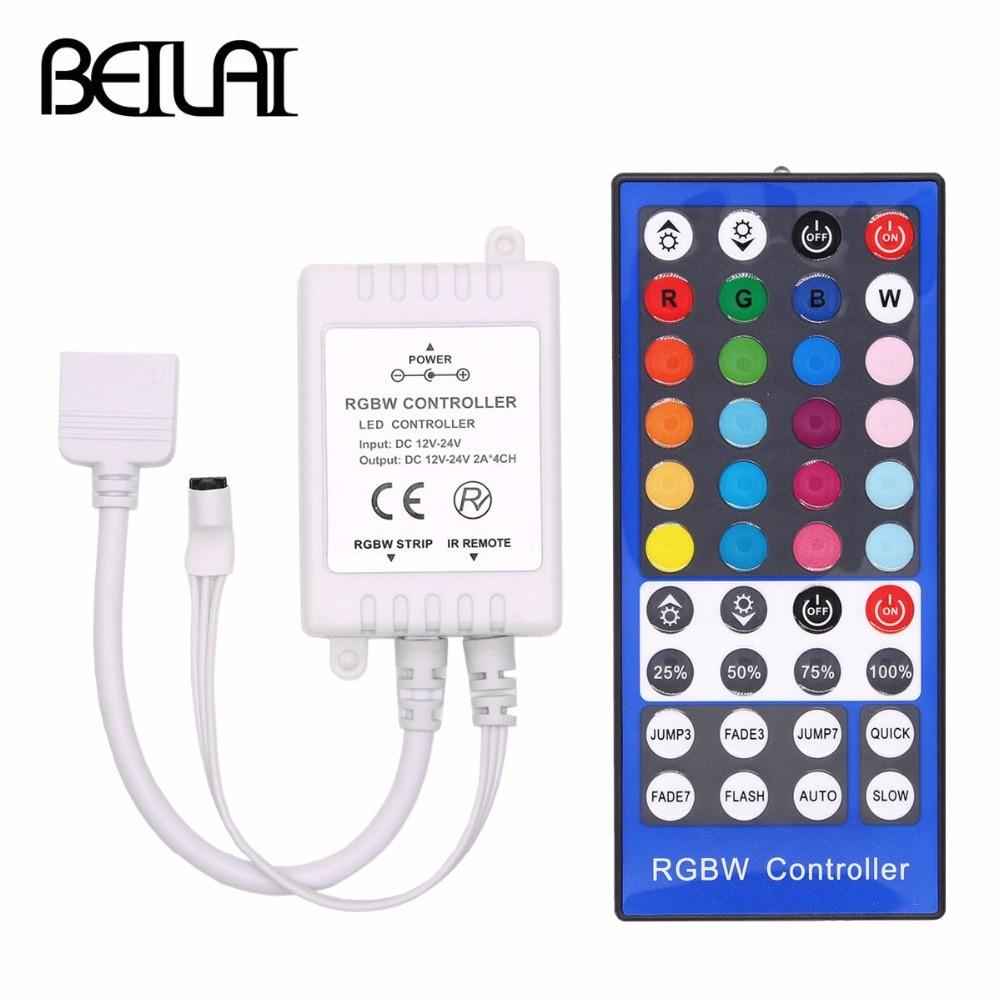 Lights 4 Channels DC 12V - 24V RGBW LED Controller Dimmer 40Key 5Pins IR Remote Control For SMD 5050
