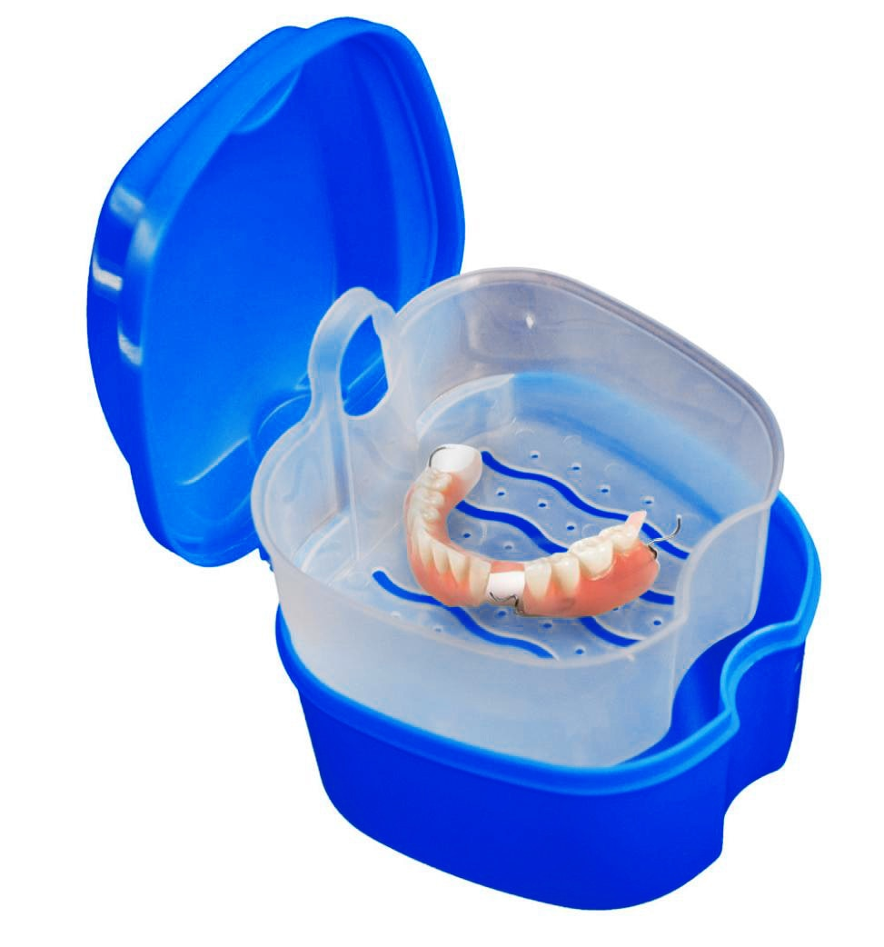 New Storage box Convenient Denture Bath Box Case Dental False Teeth Storage Box with Hanging Net Container