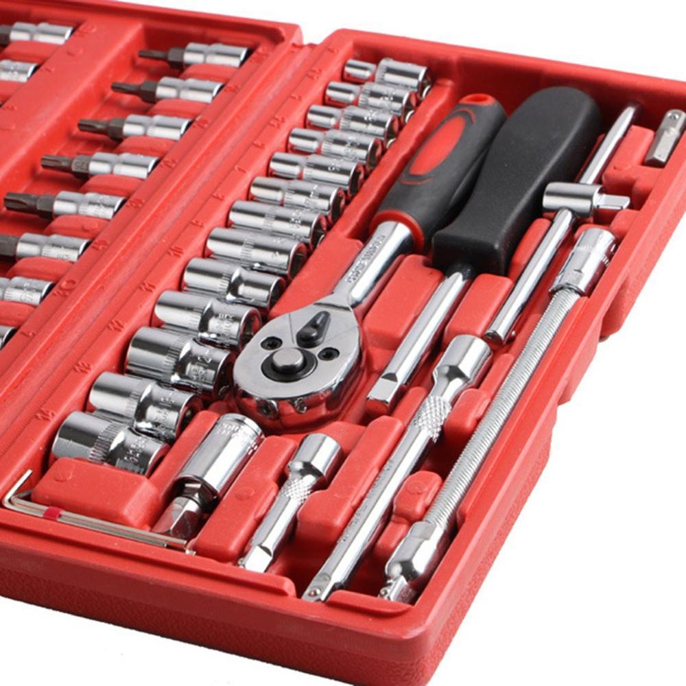46 pçs/pçs/set mecânica conjunto de ferramentas mão do carro combinação de aço carbono chave soquete chave chave chave chave chave de fenda para o reparo do automóvel toolbox