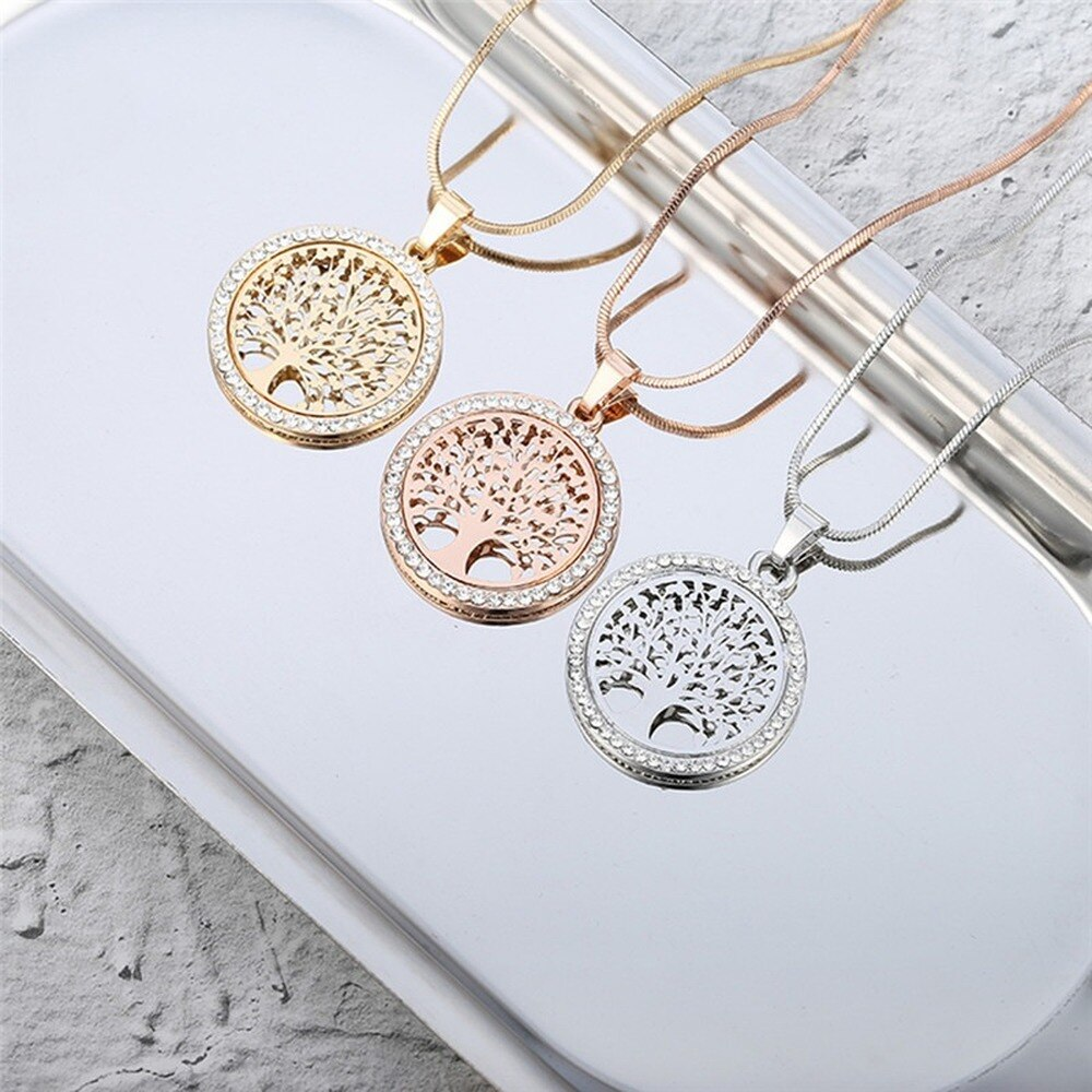 Hot Tree of Life Necklace Crystal Round Hollow Pendant Necklace Gold Silver Color Rose Gold for Women 2020 New Jewelry Gift yoowei 5mm amber women necklace for christmas new year gift round gold baltic amber jewelry s925 silver beads boutique wholesale