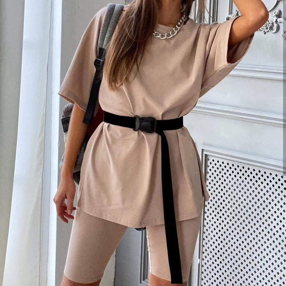 Fashion Summer Sets With Belt Women Solid Short Sleeve Tshirt And Shorts Tracksuit Women High Street Loose Two Piece Set