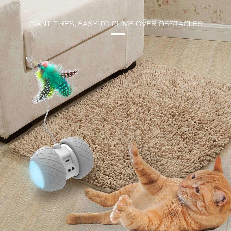 Juguete eléctrico del coche del gato del animal doméstico con la luz del LED que brilla el juguete del coche juguete automático giratorio interactivo con la pluma para el gato del perro