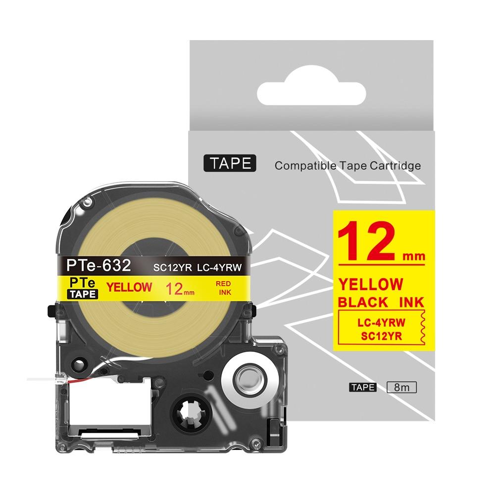 1 pieza SC12YR Cinta de transferencia térmica 9mm/12mm/18mm/24mm rojo sobre amarillo cinta de etiqueta para kingjimmy/Epson máquina de escribir Manual