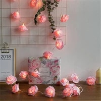 christmas rose flower vine led string lights battery powered fairy lights artificial garland for room valentines day decoration