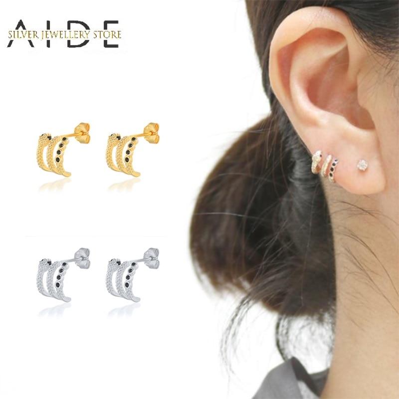AIDE Personalized Snake Stud Earrings For Women Fashion INS 3 Layers Zircon Piercing Earings Silver 925 Jewelry kolczyki